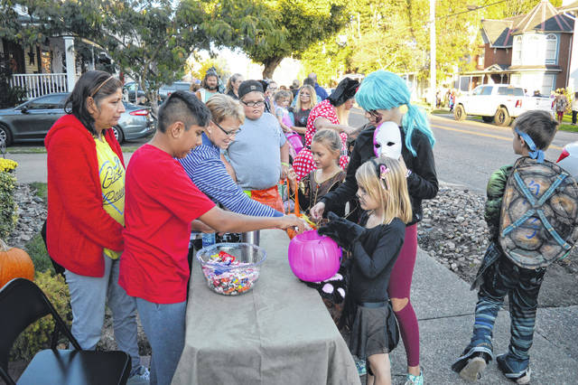Trick-or-Treat is currently scheduled for Thursday, Oct. 29, from 5:30 p.m. to 6:30 p.m. in Gallia County, including the City of Gallipolis and the Village of Rio Grande. Pictured is a scene from trick-or-treat in Gallipolis last year. (OVP File Photo)