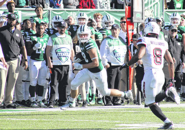 Ohio's Ryan Luehrman makes a first down catch along the home sideline, during the Bobcats' 39-36 loss on Oct. 12, 2019, in Athens, Ohio.