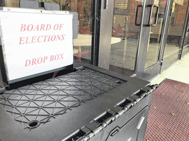 Mail-in/absentee voters can utilize this ballot drop box that remains outside the Gallia County Courthouse during office hours, for those who do not wish to enter the building. (Beth Sergent | OVP)