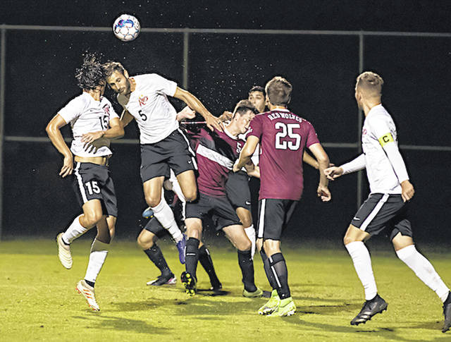 Rio Grande's Silas Machado tries to head in a corner kick opportunity during Saturday night's 6-0 win over Indiana University East at Evan E. Davis Field.