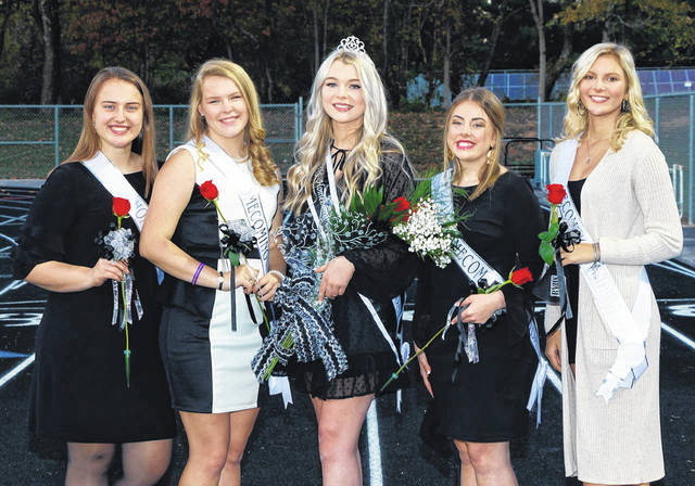 Gracee Wamsley, pictured at center, was crowned 2020 RVHS Homecoming Queen. Pictured with Wamsley are members of the Homecoming Court and Senior Candidates Kristen Clark, Sydnee Runyon, Lindsey Abbott, Alexis Thomas. (Randy Houdashelt/Image Gallery | Courtesy)