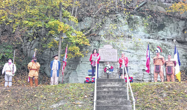 Pictured are participants in the 250th Anniversary ceremony of the George Washington encampment at Long Bottom, Ohio: Sons of the American Revolution members Ed Cromley, Point Pleasant Chapter and Jim Smith,Lt. George Ewing Chapter, Wesley Thoene as George Washington, Gina Tillis, Return Jonathan Meigs DAR Chapter Regent, Kathy Dixon, Ohio DAR State Regent, Brady Johnson as Chief Kiashuta, Jocelyln Johnson as a member of Chief Kiashuta's hunting party.