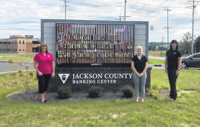 Pictured (L-R) are Ellen McCabe, Dean of Partnerships, Buckeye Hills Career Center; Lillian Sizemore, Teller, Jackson County Banking Center; and Kyle Exline, Employee Development Officer, Vinton County National Bank.