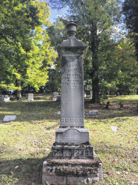 James Campbell's grave marker in Hemlock Grove Cemetery.