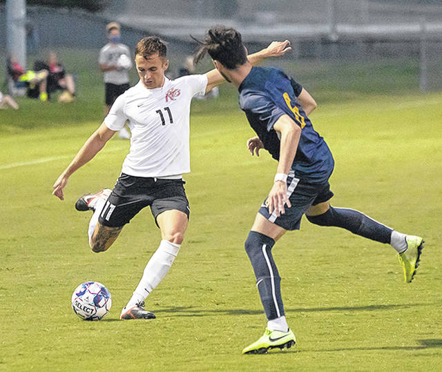 Rio Grande's Samuel Pedersen, shown here in Saturday's loss to WVU Tech, scored a pair of goals in the RedStorm's 9-2 rout of Ohio Christian University, Thursday afternoon, in Circleville.