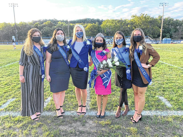The members of the 2020 Gallia Academy Homecoming Court were Sarah Watts, Haley Berkley, Madison Rocchi, Queen Erin Pope, Mackenzie Long, and Madison Petro. (Bryan Walters | OVP Sports)