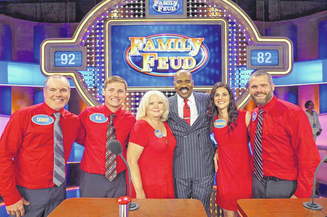 """The Tennant family of New Haven will be appearing on the game show """"Family Feud"""" on Oct. 8, 5 p.m., on Fox Channel 11. Pictured, from left, are Lenny Tennant, D.J. Gibbs, Rhonda Tennant, Show Host Steve Harvey, Shannon Tennant, and David Tennant."""