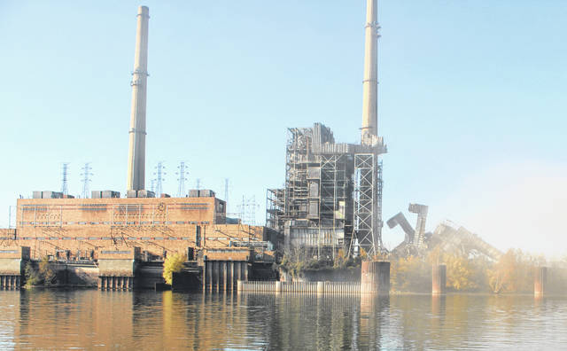 The precipitator on Unit 5 was demolished as part of Saturday's work at the Philip Sporn Plant.