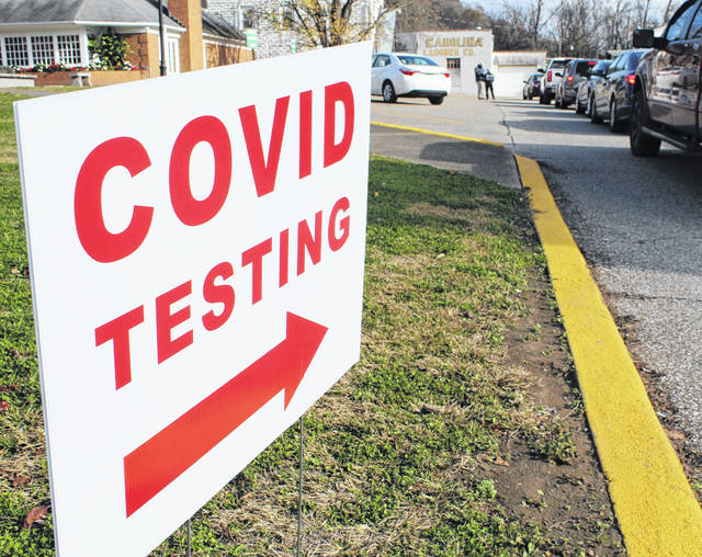 Several free COVID-19 testing sites are being set up across Mason County this week. Pictured is a mobile testing site at the Mason County Library in Point Pleasant on Tuesday. (Beth Sergent | OVP)