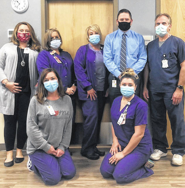 Holzer Wound Care Gallipolis staff pictured front row, from left, Amanda Ousley, RN, clinical nurse manager, Lindsay Eutsler, LPN/HBO \technician; back row, from left, Rachel Kearns, program director, Amy McFall, RN, Amy Ervin, front office coordinator, BJ Barnette, wound care consultant, and Dr. Glenn Fisher, medical director. (Holzer | Courtesy)