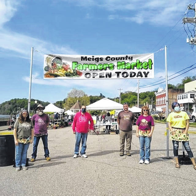 Meigs County Farmers' Market Board members and Pomeroy Mayor beside the Meigs County Market entrance: Angel Brothers, Bill Brothers, Mayor Don Anderson, Sam Rife, Dixie Hawthorne Grueser, and Director Stephanie Rife.