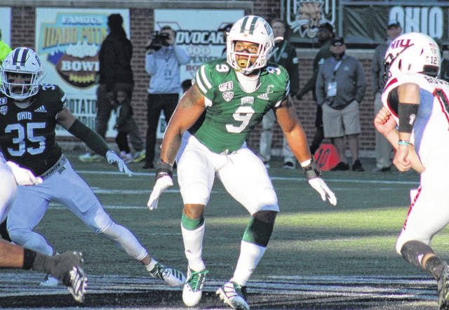 Ohio defensive end Will Evans (9) contains the left side, during the Bobcats' Oct. 12, 2019, game against NIU at Peden Stadium in Athens, Ohio.