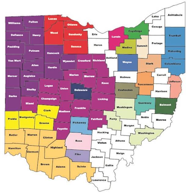 Counties not represented by an anti-human trafficking coalition are displayed in white. For more information, visit https://humantrafficking.ohio.gov/coalitions.html.