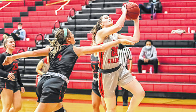 Rio Grande freshman Aleea Crites drives for two of her game-high 16 points in Wednesday night's 97-53 win over the University of Cincinnati-Clermont at the Newt Oliver Arena. The Parkersburg, W.Va. native also had a game-high eight rebounds to help the RedStorm snap a two-game losing slide.