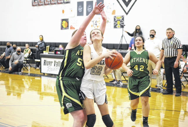 River Valley senior Sierra Somerville (22) drives for a layup, during the second half of the Lady Raiders' 41-37 victory on Thursday in Bidwell, Ohio.