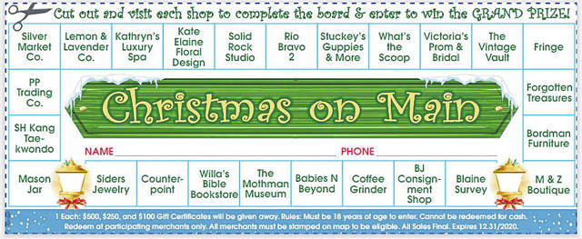 """Pictured is the shopping card which will be shared by participating businesses during """"Christmas on Main."""" Participants will go from store to store to have the card stamped. Completed cards will be entered into a drawing for a chance to win a $500, $250 or $100 gift certificate to participating stores. (Courtesy)"""