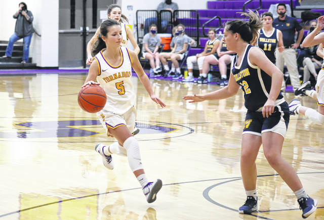 Southern freshman Lauren Smith (5) drives toward the basket, during the second half of the Lady Tornadoes' 55-44 loss on Monday in Racine, Ohio.