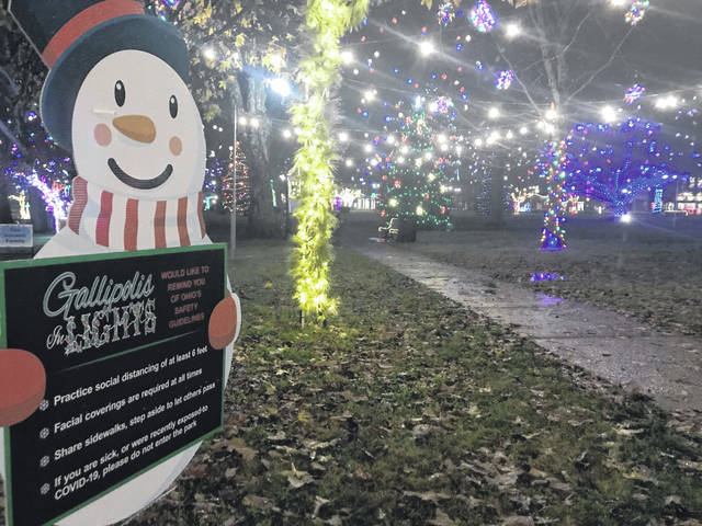Gallipolis City Park has become a busy destination as onlookers take in Gallipolis In Lights. Organizers stress visitors who choose to enter the park follow the guidelines posted to view the display. Those include: Practice social distancing of at least six feet; facial coverings are required at all times; share sidewalks, step aside to let others pass; if you are sick, or were recently exposed to COVID-19, please do not enter the park. The<em> Gallipolis Daily Tribune </em>wishes everyone in Gallia County a Merry Christmas. The<em> Tribune </em>will not be printing on Friday, Dec. 25 so that our staff may celebrate the Christmas holiday with their families. Regular printing resumes on Saturday, Dec. 26. (Beth Sergent | OVP)