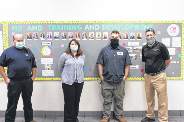 Robert Fisher, pictured third from left, former welding student at Buckeye Hills Career Center, was hired by Bellisio Foods. Also pictured Greg Kisor, Jamie Bartee and Jamie Conway. (BHCC | Courtesy)