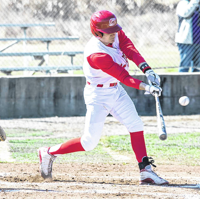 Rio Grande's Caden Cluxton had two hits, including a double, in Friday's game two loss to Bryan College at Senter Field in Dayton, Tenn. The 21st-ranked Lions swept the RedStorm in the season opener for both schools by scores of 3-2 and 7-5.