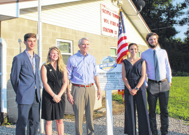 Meigs County's Bicentennial Ambassadors are pictured with Senator Rob Portman during an August 2019 visit to Meigs County. Portman spoke a the unveiling for the Bicentennial Marker in Scipio Township.