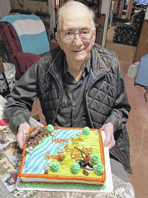 Noel Massie of Gallia County, pictured, recently celebrated his 90th birthday with cake and a card shower of more than 90 birthday cards from well-wishers. (Courtesy)