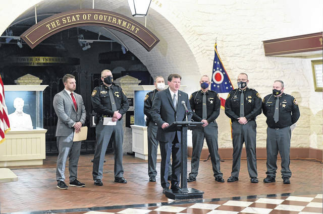 On Tuesday, State Representatives Jay Edwards (R-Nelsonville) and Jason Stephens (R-Kitts Hill), pictured, held a press conference to introduce and discuss legislation that would establish a County Jail Construction Funding Formula. Also at the press conference, area sheriffs, including Gallia Sheriff Matt Champlin and Meigs Sheriff Keith Wood. (Ohio House | Courtesy)