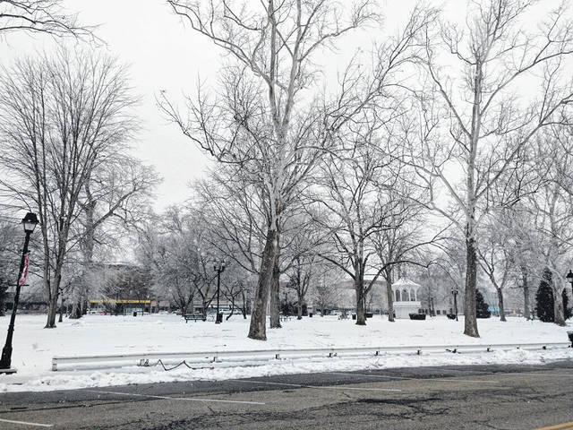 The snowy side of Gallipolis City Park along First Avenue this week. (Suzi Konz | Courtesy)