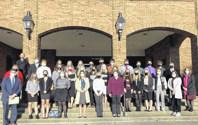 Pictured alongside junior and senior mock trial team members from River Valley High School are teachers and members of the Gallia legal community, including Prosecutor Jason Holdren, Judges Margaret Evans and Eric Mulford and Attorney Brynn Noe, who is also the program's legal advisor. (Courtesy)