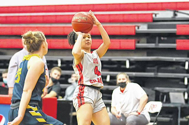 Rio Grande's Chyna Chambers puts up a jumper for two of her game- and career-high 29 points in Tuesday night's 93-79 win over West Virginia University-Tech at the Newt Oliver Arena.