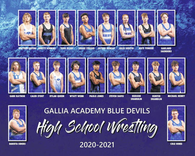 Pictured are members of the 2020-21 Gallia Academy varsity wrestling team. At top, from left, are Brayden Easton, Garytt Schwall, Todd Elliott, Shane Stroud, Jayden Dunlap, Jules Sedeyn, Nate Yongue and Garland Saunders. In middle are Gabe Raynor, Caleb Stout, Dylan Queen, Wyatt Webb, Paolo Jones, Steven Davis, Hudson Shamblin, Hunter Shamblin and Michael Henry. At bottom are Dakota Siders and Cole Hines.