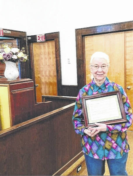 Calvary Baptist Church in Rio Grande, Ohio recently honored Anita Simmons, pictured, for 42 years of service as the church's pianist. Anita is married to Chuck Simmons and they reside near Gallipolis, Ohio. (Courtesy)