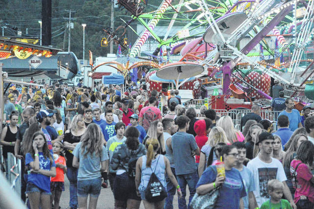Pictured prior to the pandemic, is a packed midway at the Gallia County Jr. Fair. (OVP File Photo)