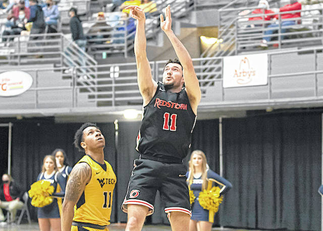 Rio Grande's Shiloah Blevins scores two of his game-high 24 points in Tuesday night's 75-60 loss to West Virginia University-Tech in the championship game of the River States Conference Men's Basketball Tournament at the Beckley-Raleigh County Convention Center in Beckley, W.Va.