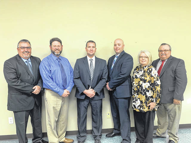 Pictured from left are Gallia County Local Board of Education Members Terry Halley, Brandon Twyman, newly selected Superintendent Phillip Kuhn, Board of Education Members Brent Schultz, Beth James and Jeff Halley. (Courtesy)
