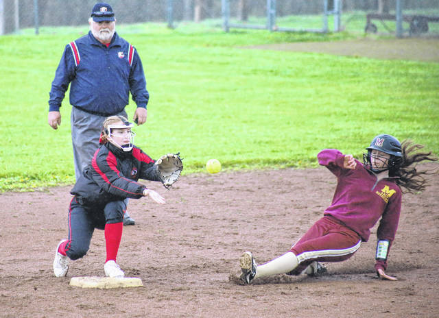 Point Pleasant second baseman Julia Parsons (left) catches the ball for a force out, as Meigs' Mara Hall (right) slides in, during the Lady Knights' 11-2 win on Monday in Rocksprings, Ohio.