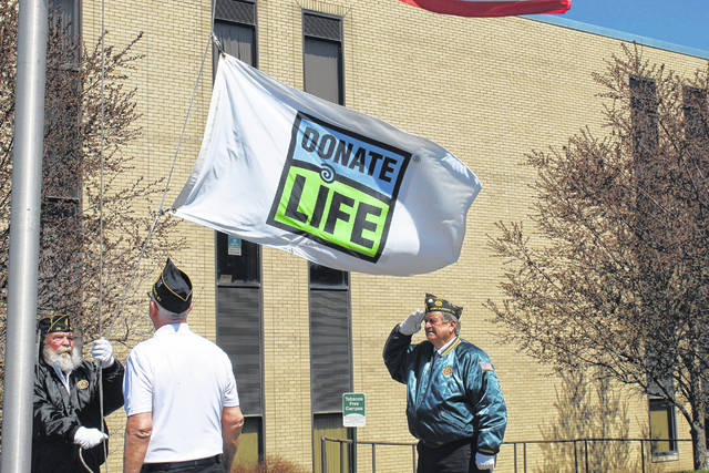Pictured prior to the pandemic are members of the color guard from American Legion Post #23 in Point Pleasant raising the Donate Life flag. (OVP File Photo)