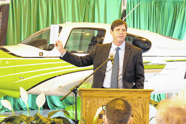 William Smith, Delta Air Line's director of learning and development for Technical Operations, announces that the air carrier will provide educational support for the Aviation Maintenance Technology (AMT) program being launched by Marshall University and Mountwest Community & Technical College with support from the Robert C. Byrd Institute. Smith spoke March 26 during groundbreaking for the AMT program at Huntington Tri-State Airport. (RCBI | Courtesy)