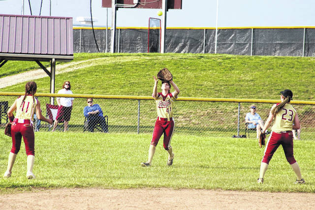 Meigs left fielder Mara Hall (center) catches a flyball in front of teammates Delana Wright (11) and Jerrica Smith (23), during the Lady Marauders' 8-5 victory on Wednesday in Rocksprings, Ohio.