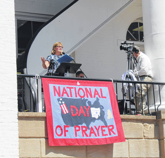 Meigs County National Day of Prayer organizer Brenda Barnhart speaks during the 2020 ceremony.