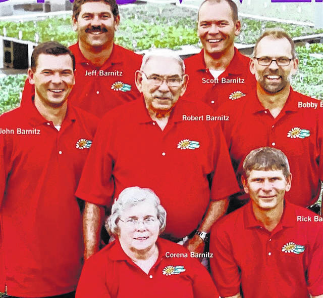 John, Jeff, Scott, Bobby, and Rick Barnitz are pictured with their parents Robert and Corena Barnitz.