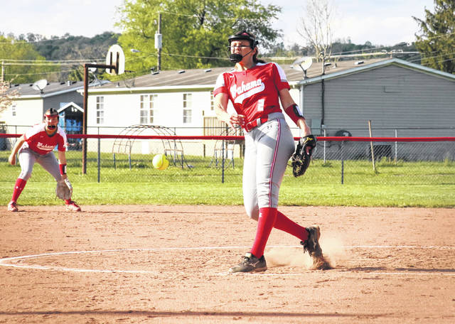 Wahama sophomore Mikie Lieving (2) delivers a pitch in the second inning of the Lady Falcons' 5-0 victory over Ritchie County, on Friday in Hartford, W.Va.