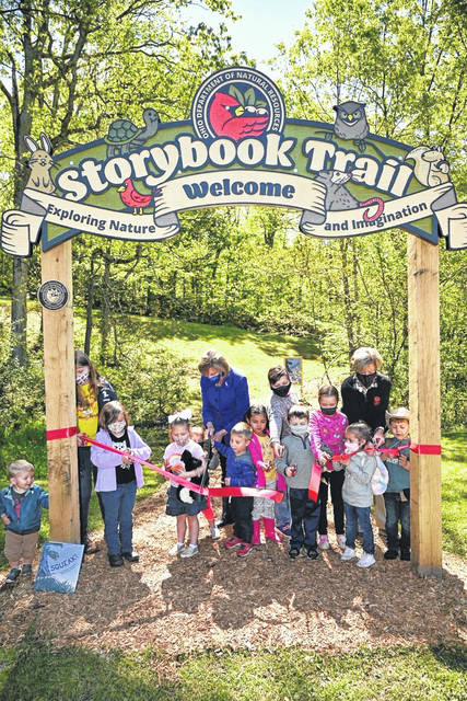 On Wednesday, Ohio First Lady Fran DeWine and Ohio Department of Natural Resources Director Mary Mertz were among the first to walk along Ohio's newest Storybook Trail at Burr Oak State Park in Morgan County.