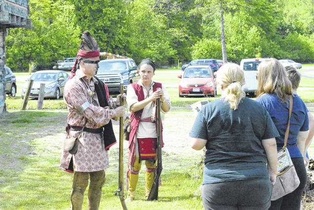 """This past weekend, to commemorate the 1778 Siege of Fort Randolph, a """"history walk,"""" pictured, was offered, allowing visitors to interact with Chief Cornstalk, Captain McKee, Captain Hall, Nonhelema, and Blackfish in person. Fort Randolph will open for the summer beginning May 28 through Sept. 5. The fort will be open from 11 a.m. - 5 p.m. on Fridays, Saturdays and Sundays. The fort is located within Krodel Park in Point Pleasant, W.Va."""