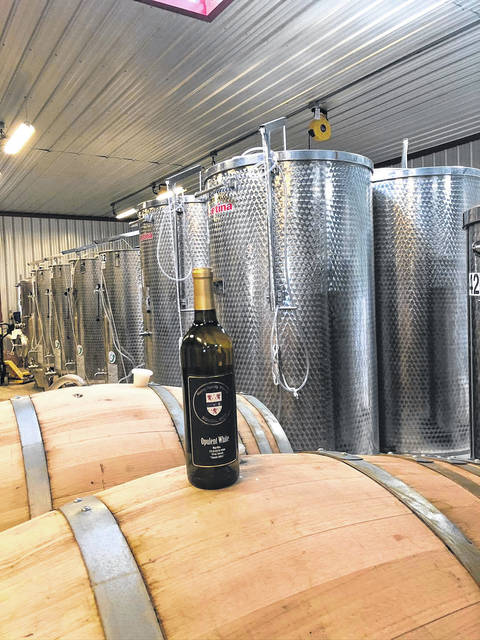 A view inside the Merry Family Winery.