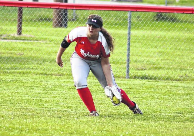Wahama center fielder Morgan Christian fields the ball of a hop, during the Lady Falcons' victory over Tug Valley on May 20 in Hartford, W.Va.