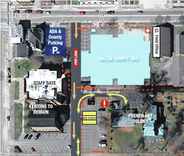 Pictured is a rendering showing where the new Gallia County Jail will go, along with the orange dotted lines showing the contruction areas. Orange arrows denote construction traffic, with yellow arrows denoting access to the French Art Colony. Not all available parking areas are noted in the rendering. See adjacent article for information on more parking options.