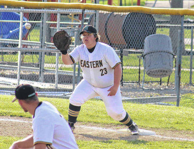 Eastern senior Owen Johnson (23) hauls in the ball for a force out at first base. (Alex Hawley OVP Sports)