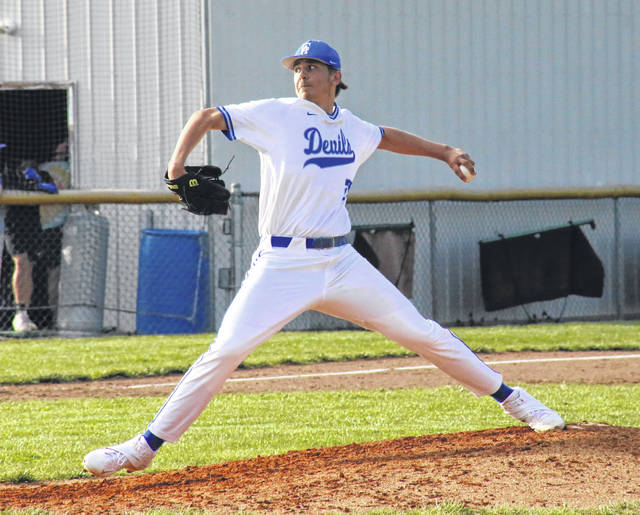 GAHS junior Zane Loveday pitches during the Blue Devils' April 9 game against Ironton in Centenary, Ohio.