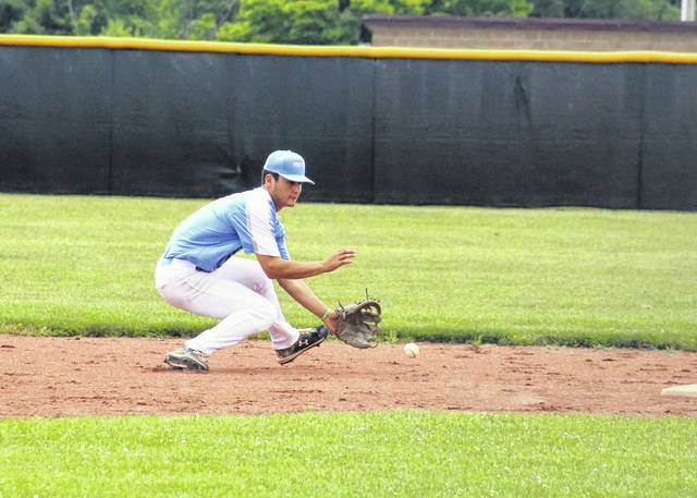 Post 39 shortstop Matthew Blanchard fields a grounder, during a June 13 game at Meigs High School in Rocksprings, Ohio.